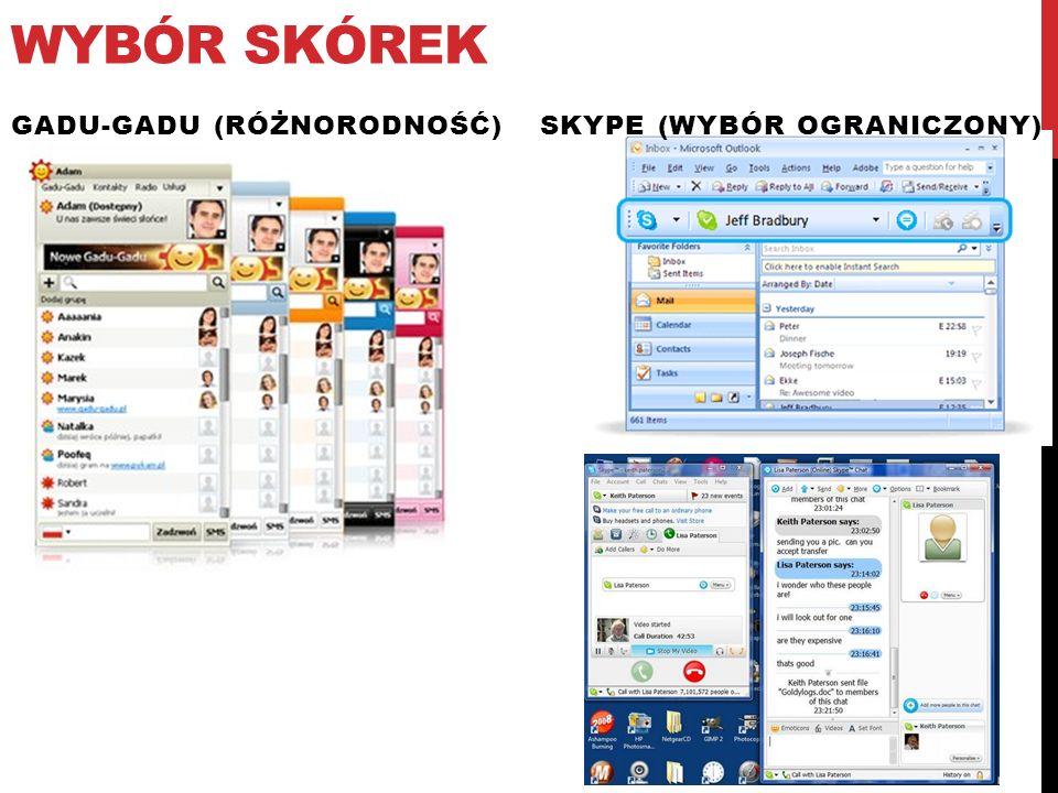 Wybór skórek Skype (wybór ograniczony) Gadu-gadu (różnorodność)