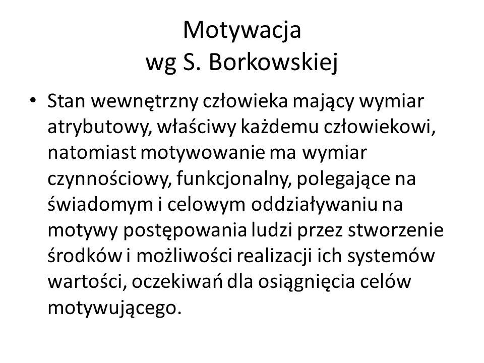 Motywacja wg S. Borkowskiej