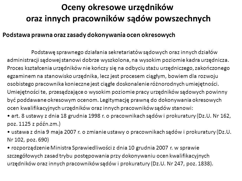 Oceny okresowe urzędników oraz innych pracowników sądów powszechnych