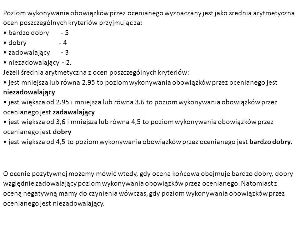 Poziom wykonywania obowiązków przez ocenianego wyznaczany jest jako średnia arytmetyczna ocen poszczególnych kryteriów przyjmując za: