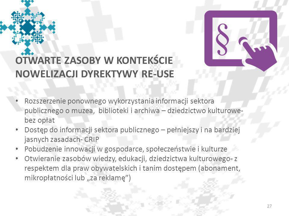 Otwarte zasoby w kontekście nowelizacji dyrektywy re-use