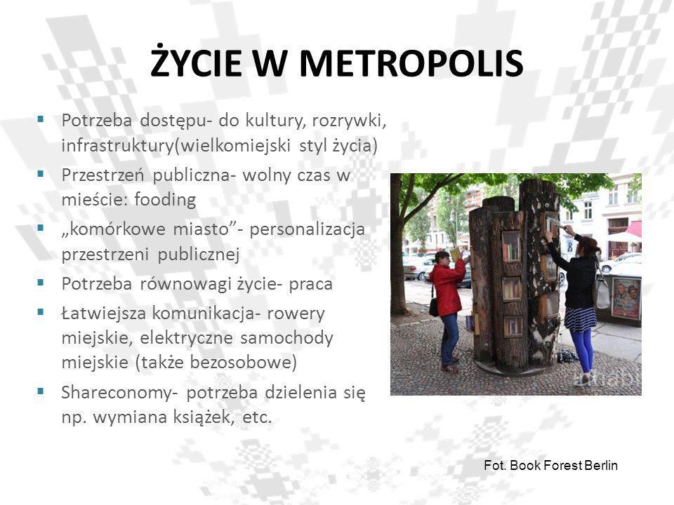 ŻYCIE W METROPOLIS Potrzeba dostępu- do kultury, rozrywki, infrastruktury(wielkomiejski styl życia)