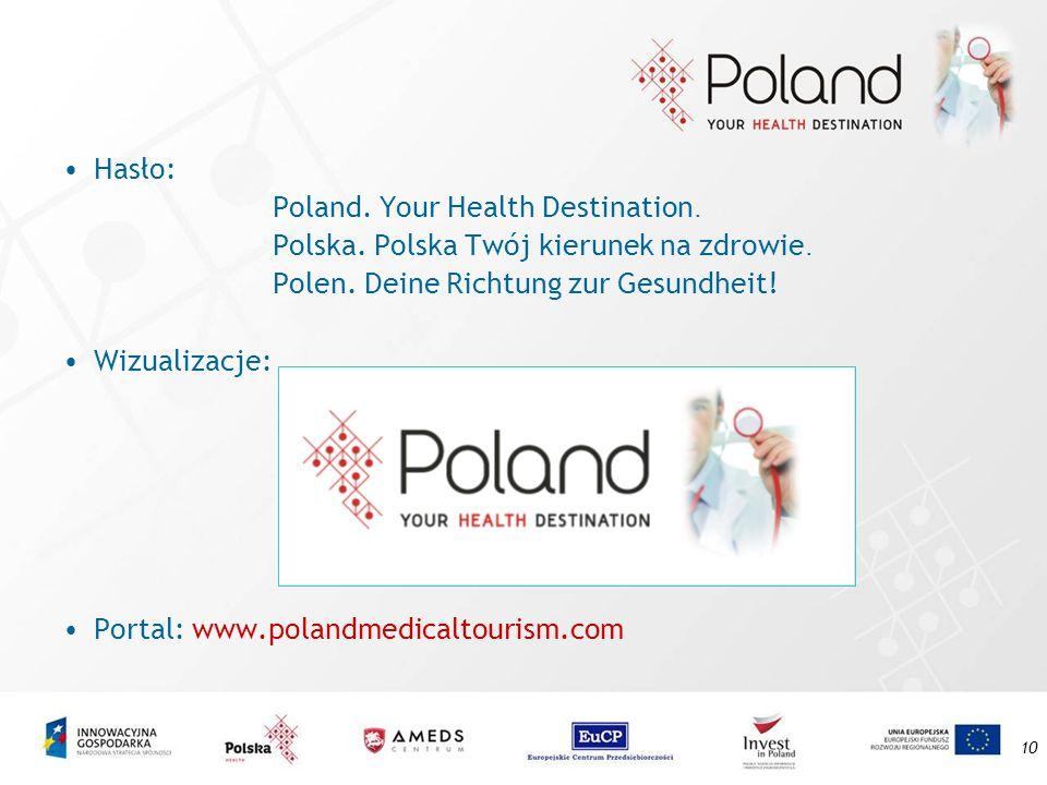 Hasło:Poland. Your Health Destination. Polska. Polska Twój kierunek na zdrowie. Polen. Deine Richtung zur Gesundheit!