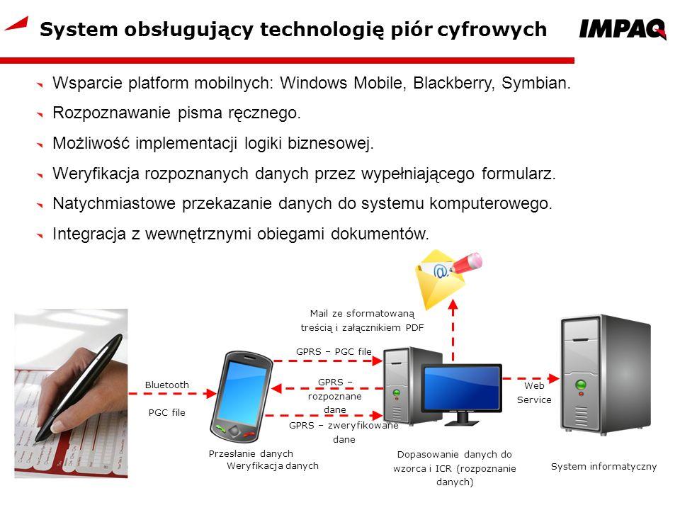 System obsługujący technologię piór cyfrowych