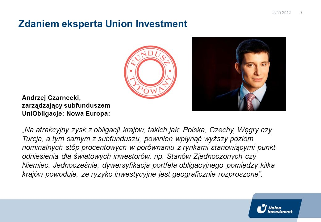 Zdaniem eksperta Union Investment