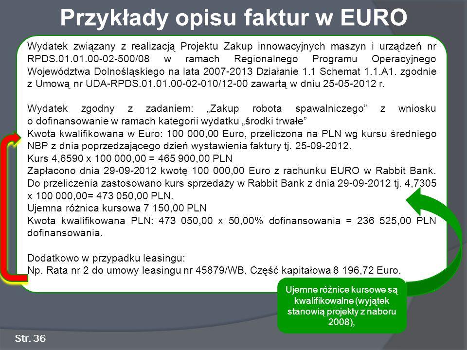 Przykłady opisu faktur w EURO