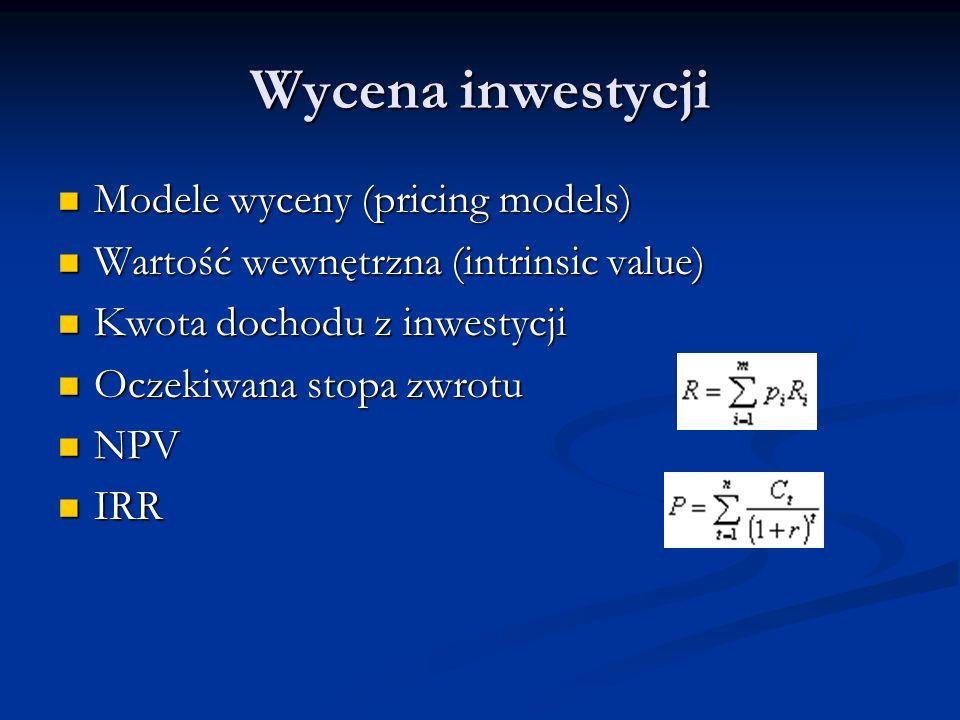 Wycena inwestycji Modele wyceny (pricing models)