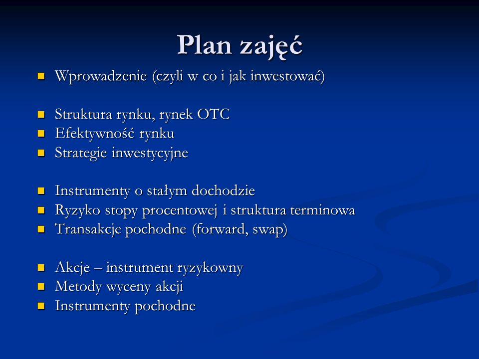 Plan zajęć Wprowadzenie (czyli w co i jak inwestować)