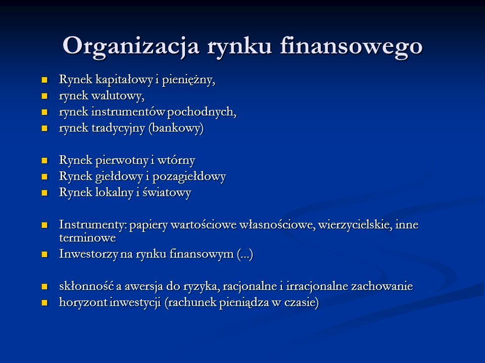 Organizacja rynku finansowego