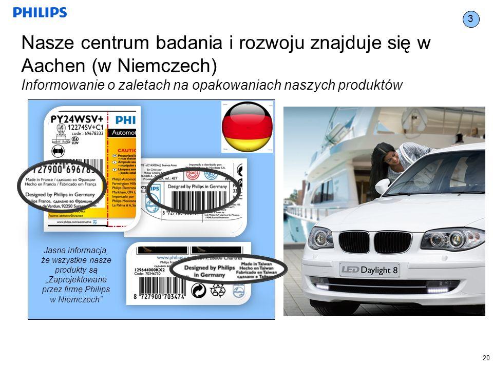 3 Nasze centrum badania i rozwoju znajduje się w Aachen (w Niemczech) Informowanie o zaletach na opakowaniach naszych produktów.