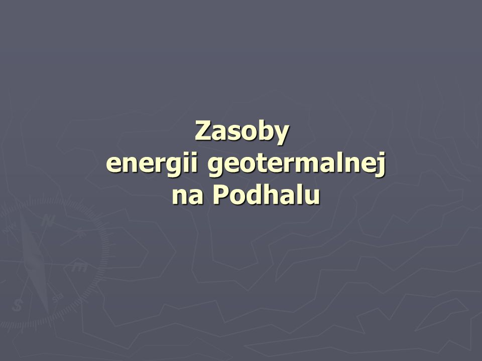 Zasoby energii geotermalnej na Podhalu