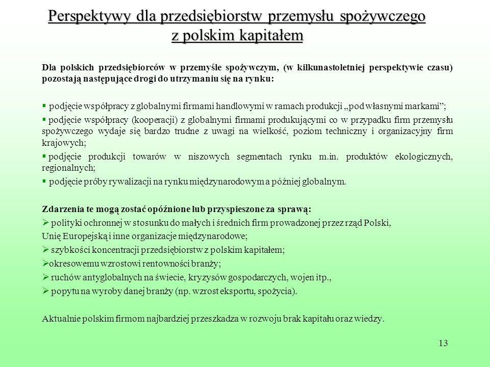 Perspektywy dla przedsiębiorstw przemysłu spożywczego z polskim kapitałem