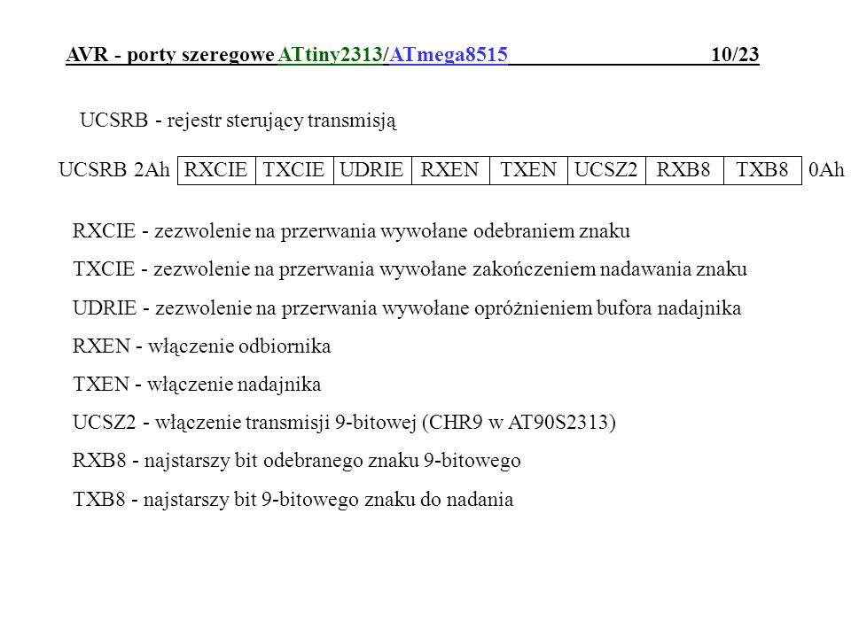 AVR - porty szeregowe ATtiny2313/ATmega8515 10/23