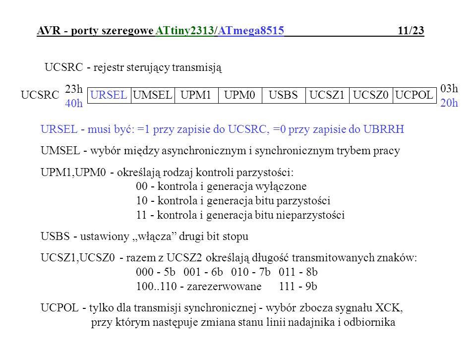AVR - porty szeregowe ATtiny2313/ATmega8515 11/23