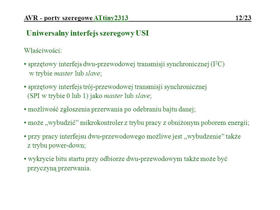 AVR - porty szeregowe ATtiny2313 12/23