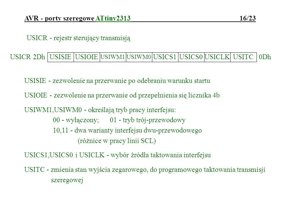 AVR - porty szeregowe ATtiny2313 16/23