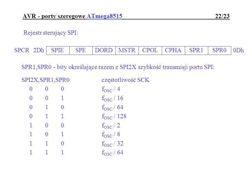 AVR - porty szeregowe ATmega8515 22/23