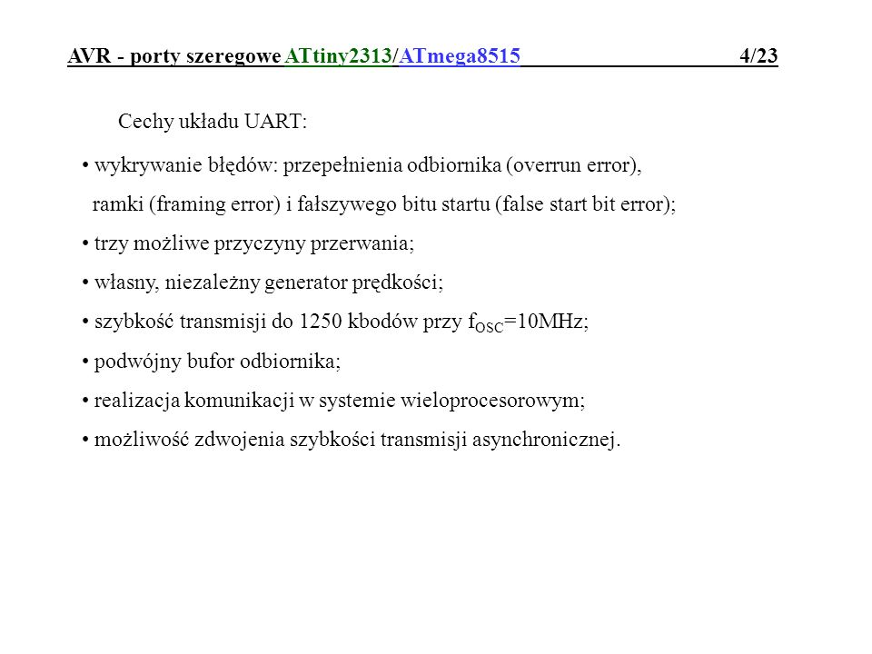 AVR - porty szeregowe ATtiny2313/ATmega8515 4/23