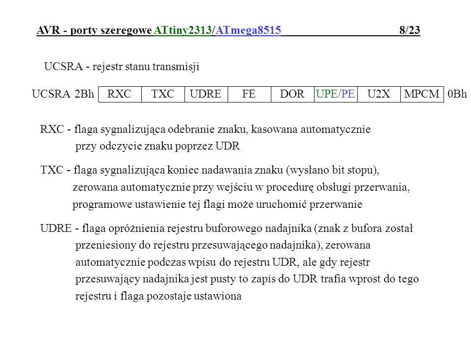 AVR - porty szeregowe ATtiny2313/ATmega8515 8/23