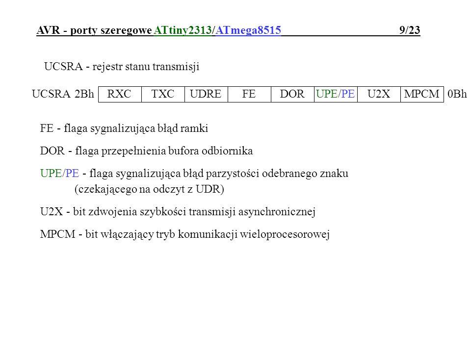 AVR - porty szeregowe ATtiny2313/ATmega8515 9/23