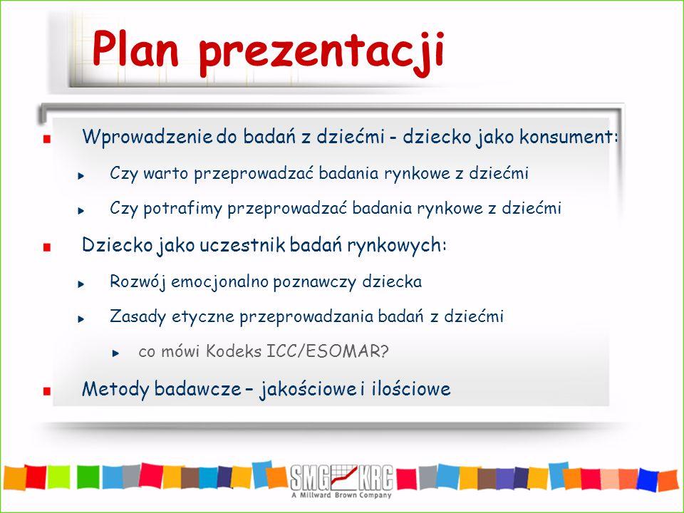 Plan prezentacji Wprowadzenie do badań z dziećmi - dziecko jako konsument: Czy warto przeprowadzać badania rynkowe z dziećmi.