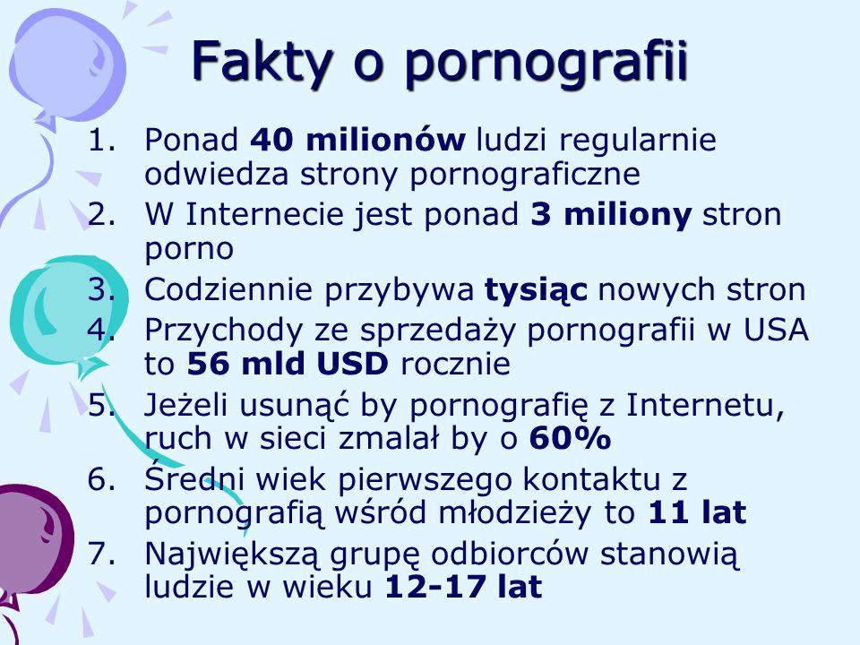Fakty o pornografii Ponad 40 milionów ludzi regularnie odwiedza strony pornograficzne. W Internecie jest ponad 3 miliony stron porno.