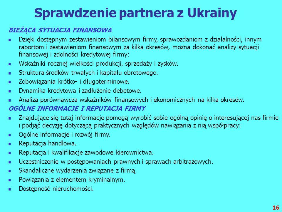 Sprawdzenie partnera z Ukrainy