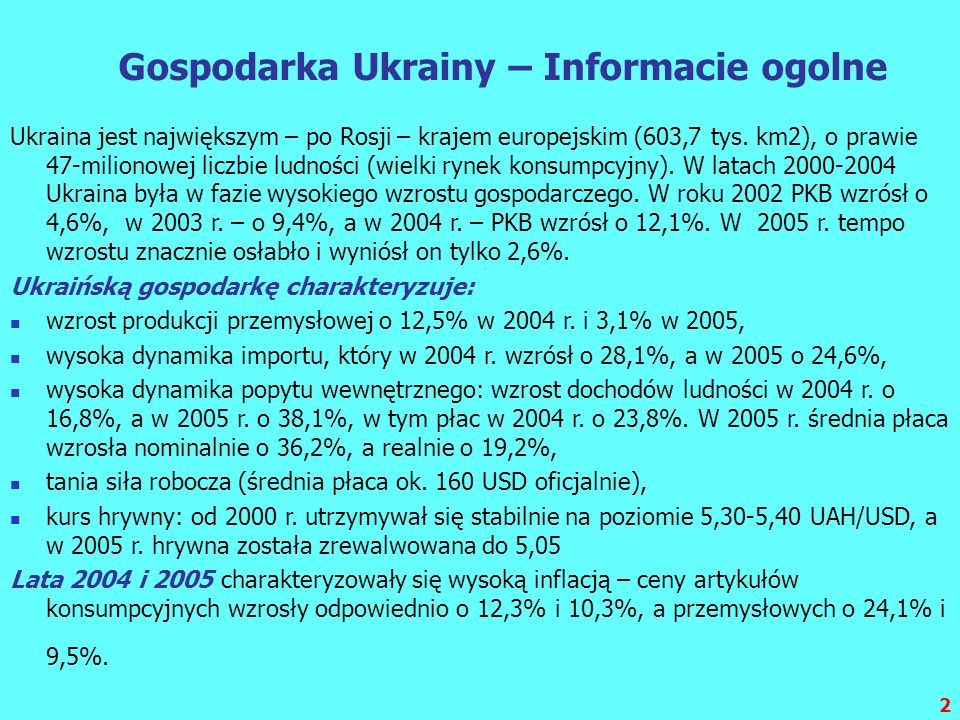 Gospodarka Ukrainy – Informacie ogolne