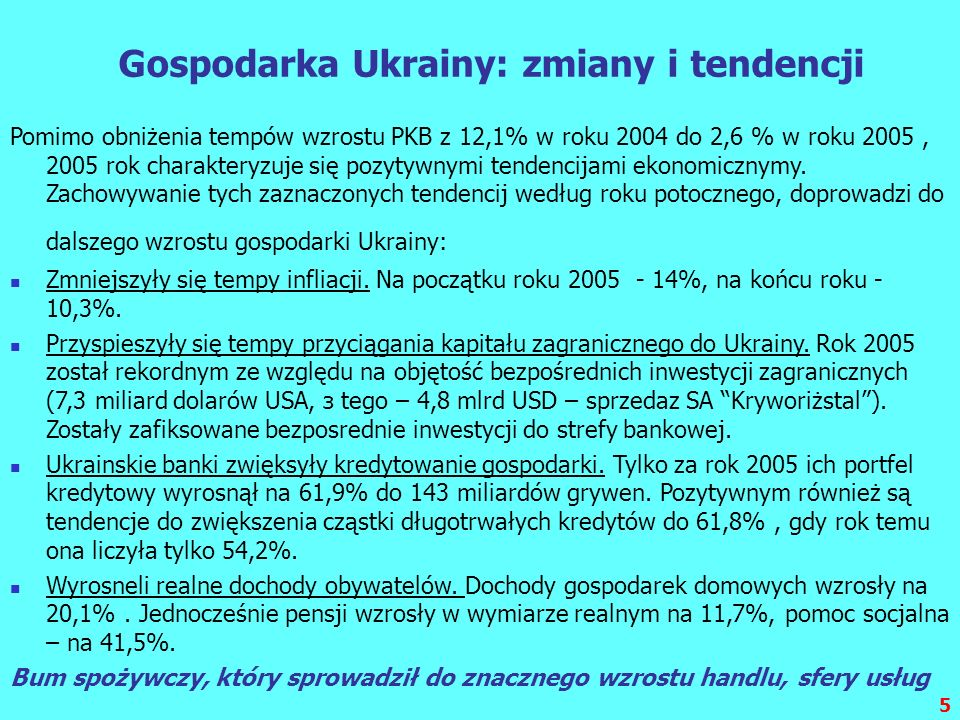 Gospodarka Ukrainy: zmiany i tendencji