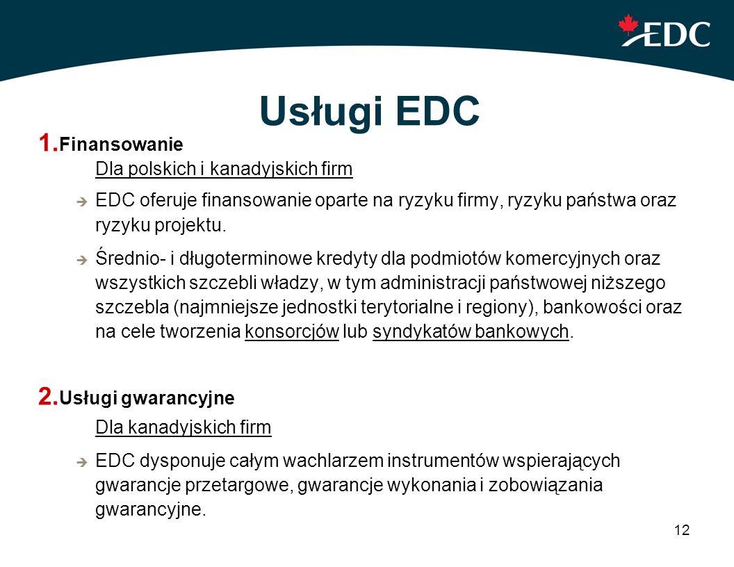 Usługi EDC Finansowanie Dla polskich i kanadyjskich firm