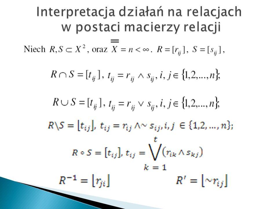 Interpretacja działań na relacjach w postaci macierzy relacji