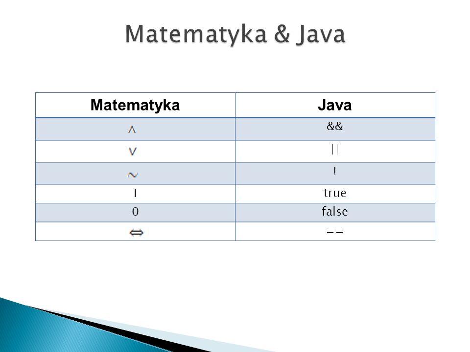 Matematyka & Java Matematyka Java && || ! 1 true false ==