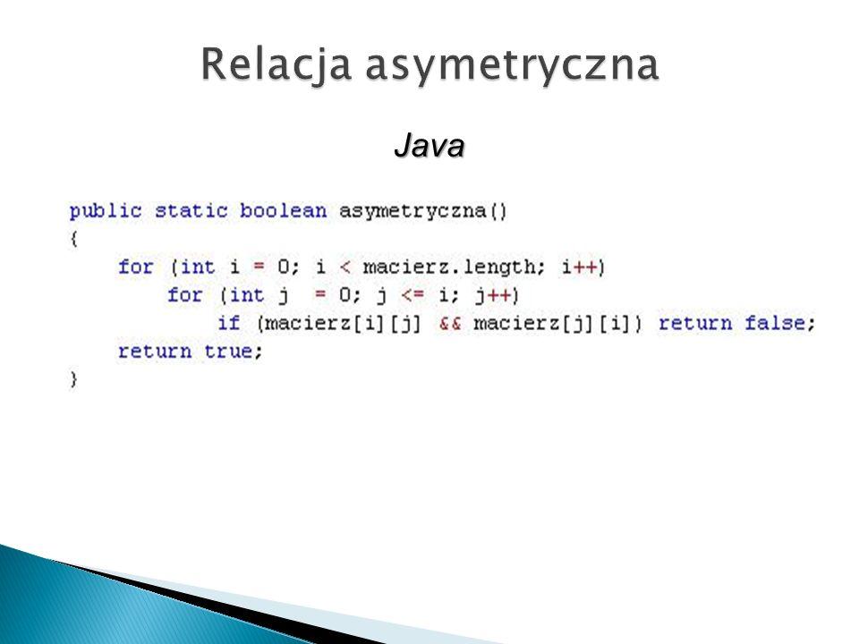 Relacja asymetryczna Java