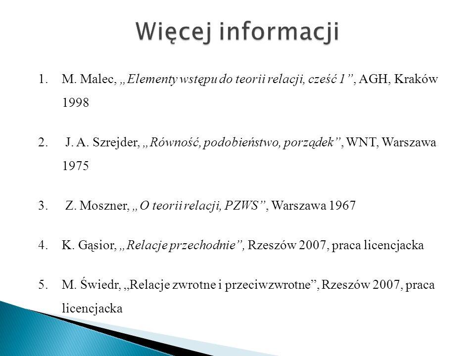 """Więcej informacji M. Malec, """"Elementy wstępu do teorii relacji, cześć 1 , AGH, Kraków 1998."""