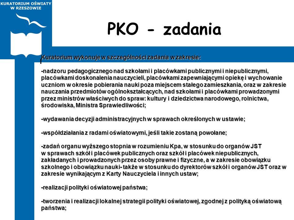 PKO - zadania I. Kuratorium wykonuje w szczególności zadania w zakresie: