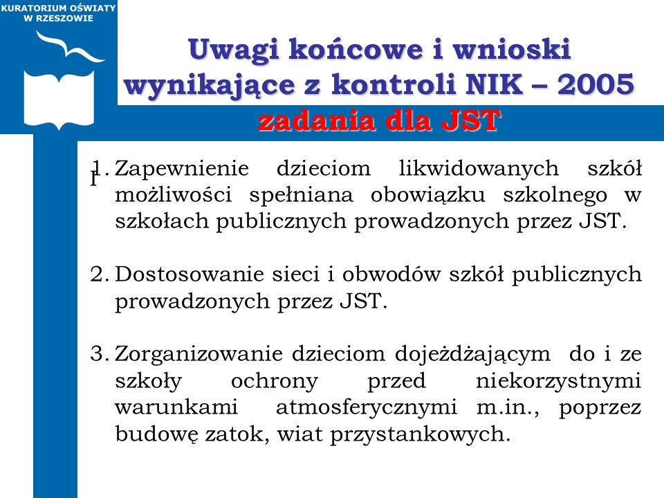 Uwagi końcowe i wnioski wynikające z kontroli NIK – 2005 zadania dla JST