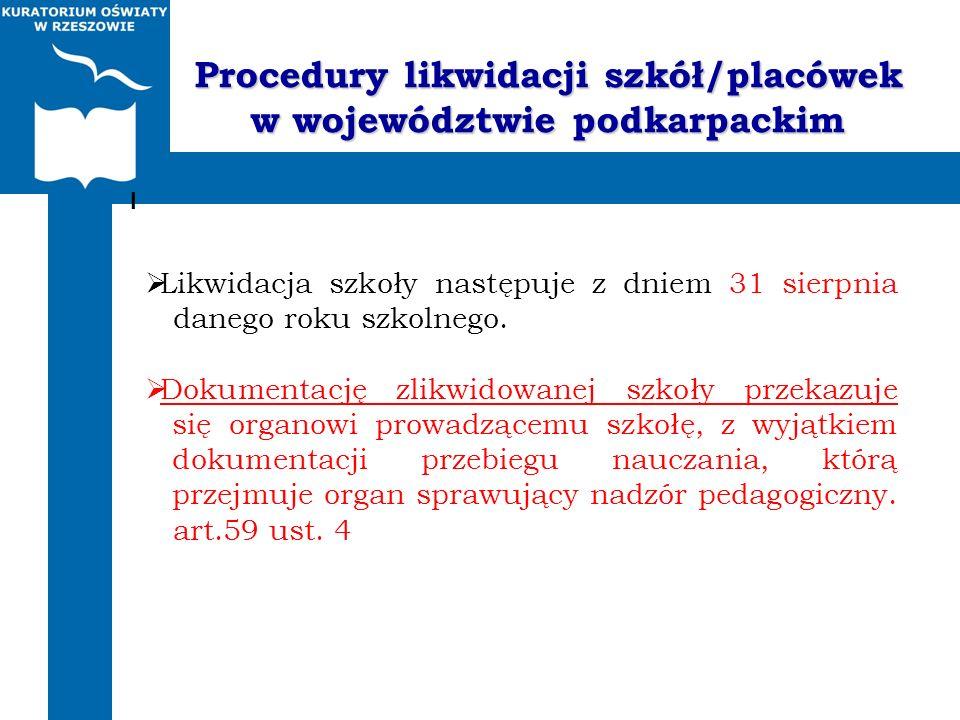 Procedury likwidacji szkół/placówek w województwie podkarpackim