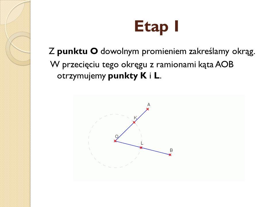 Etap I Z punktu O dowolnym promieniem zakreślamy okrąg.