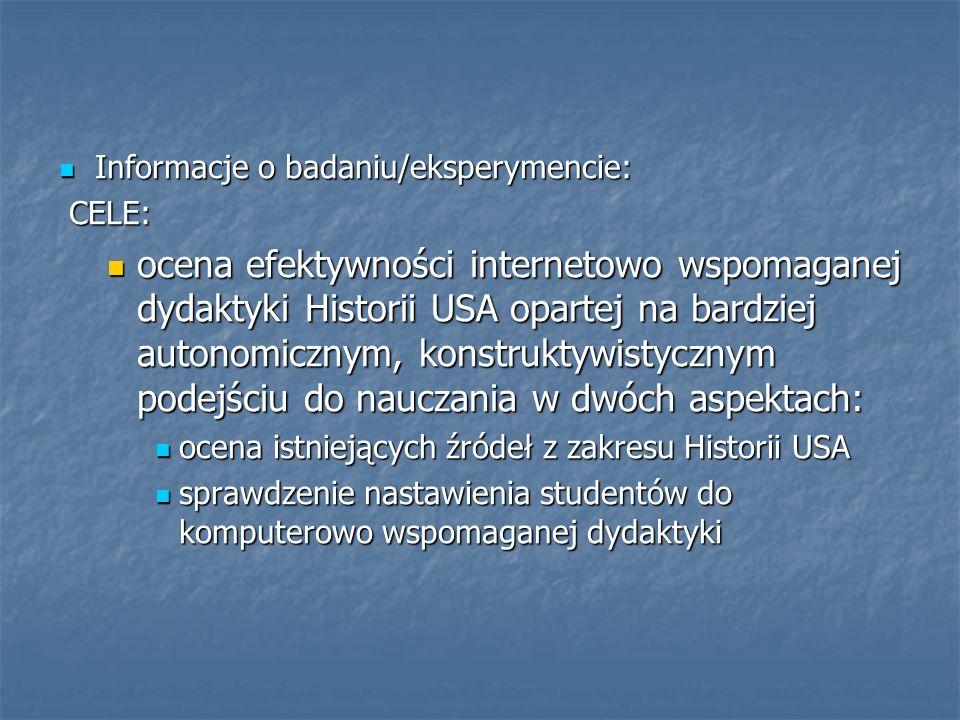 Informacje o badaniu/eksperymencie: