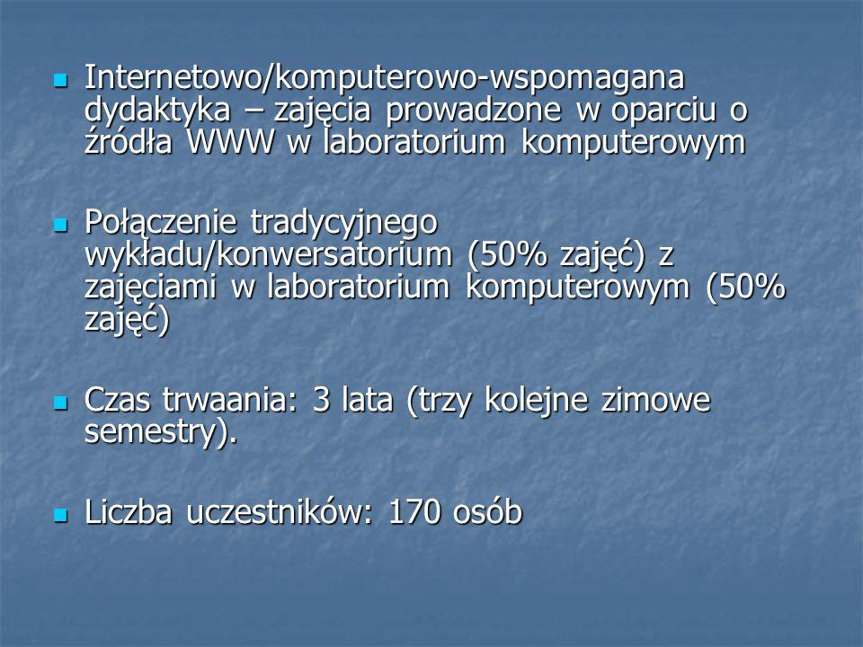 Internetowo/komputerowo-wspomagana dydaktyka – zajęcia prowadzone w oparciu o źródła WWW w laboratorium komputerowym
