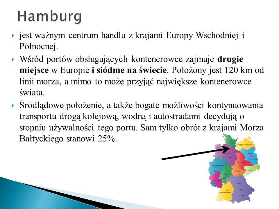 Hamburg jest ważnym centrum handlu z krajami Europy Wschodniej i Północnej.