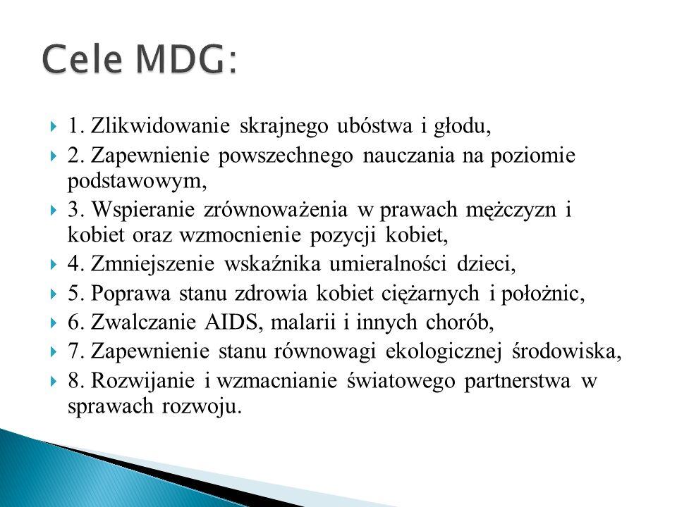 Cele MDG: 1. Zlikwidowanie skrajnego ubóstwa i głodu,