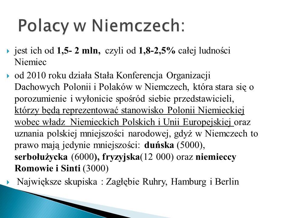 Polacy w Niemczech: jest ich od 1,5- 2 mln, czyli od 1,8-2,5% całej ludności Niemiec.