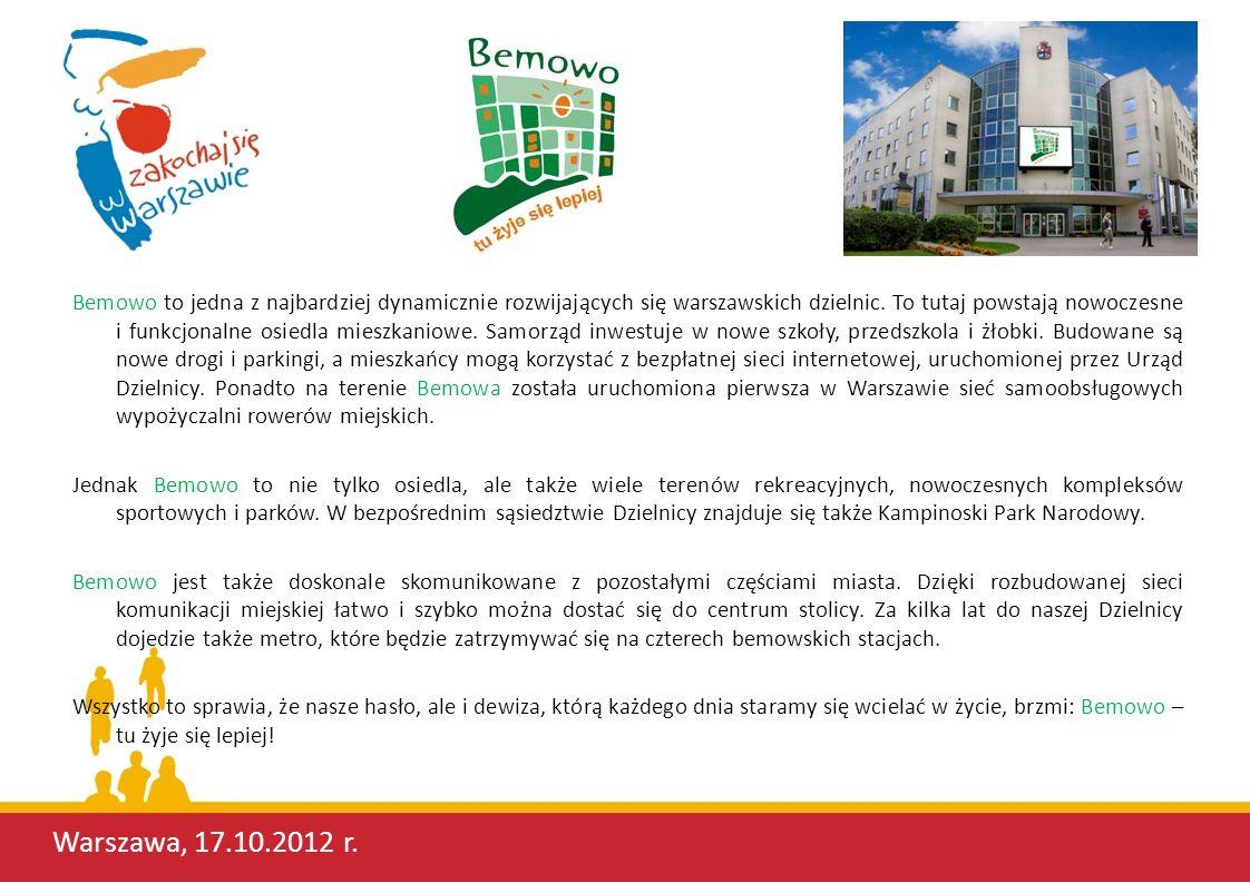 Bemowo to jedna z najbardziej dynamicznie rozwijających się warszawskich dzielnic. To tutaj powstają nowoczesne i funkcjonalne osiedla mieszkaniowe. Samorząd inwestuje w nowe szkoły, przedszkola i żłobki. Budowane są nowe drogi i parkingi, a mieszkańcy mogą korzystać z bezpłatnej sieci internetowej, uruchomionej przez Urząd Dzielnicy. Ponadto na terenie Bemowa została uruchomiona pierwsza w Warszawie sieć samoobsługowych wypożyczalni rowerów miejskich.