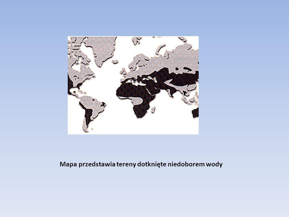 Mapa przedstawia tereny dotknięte niedoborem wody