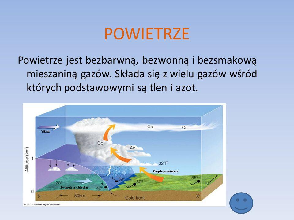 POWIETRZE Powietrze jest bezbarwną, bezwonną i bezsmakową mieszaniną gazów.