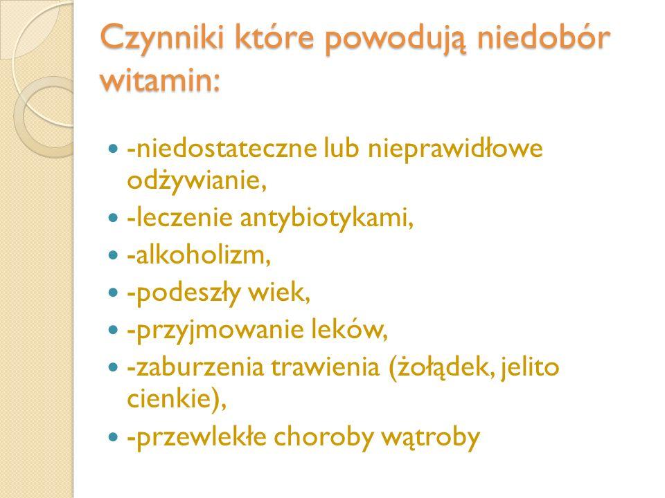 Czynniki które powodują niedobór witamin: