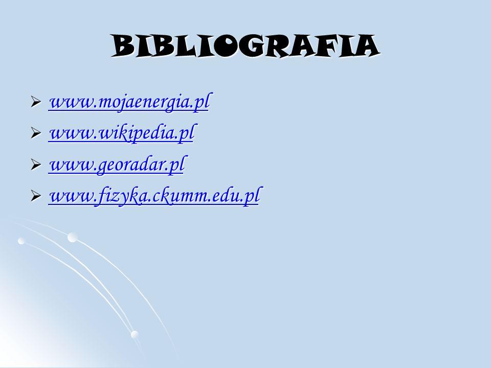 BIBLIOGRAFIA www.mojaenergia.pl www.wikipedia.pl www.georadar.pl