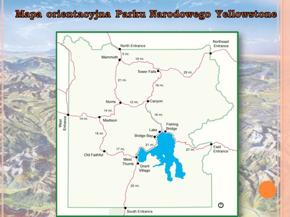 Mapa orientacyjna Parku Narodowego Yellowstone