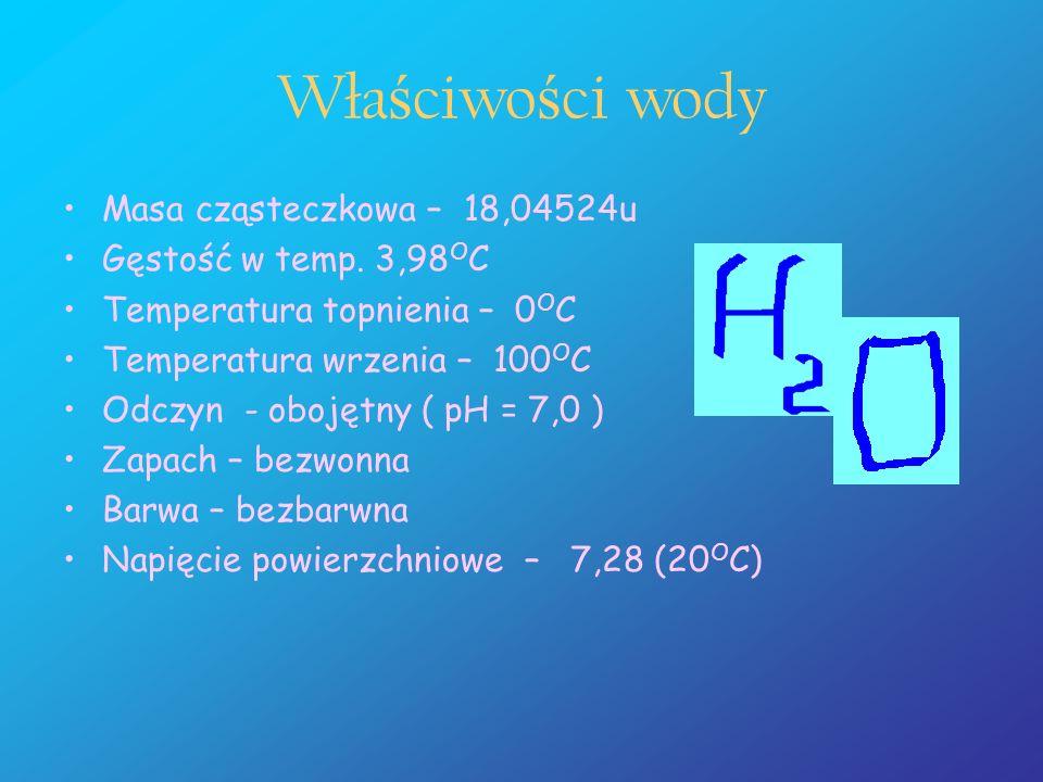 Właściwości wody Masa cząsteczkowa – 18,04524u Gęstość w temp. 3,98OC
